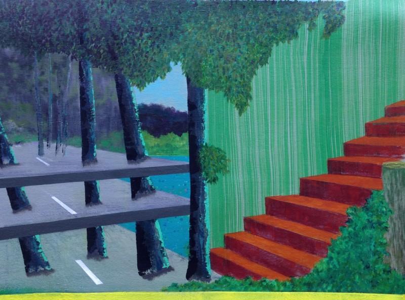 Vedute d'escalier, 71 cm x 61 cm